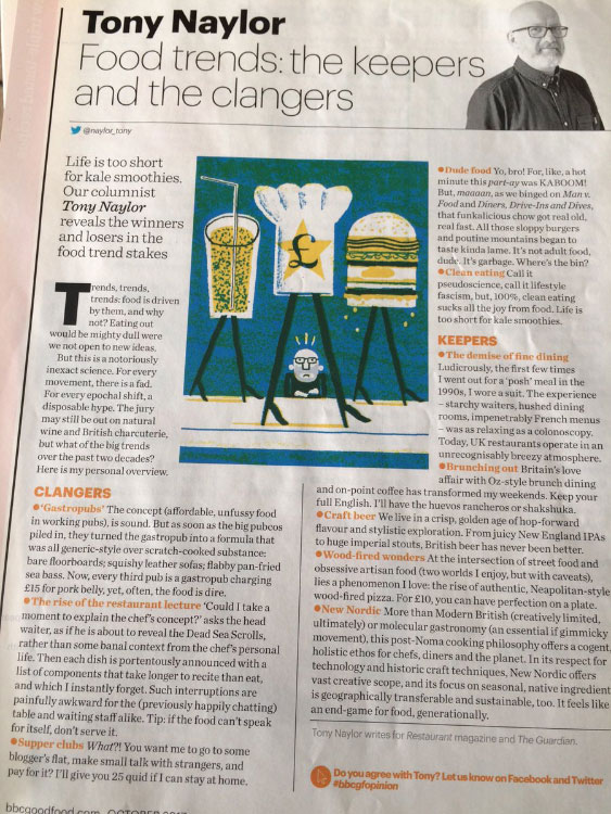 BBC Good Food illustration food trends print page critic writer