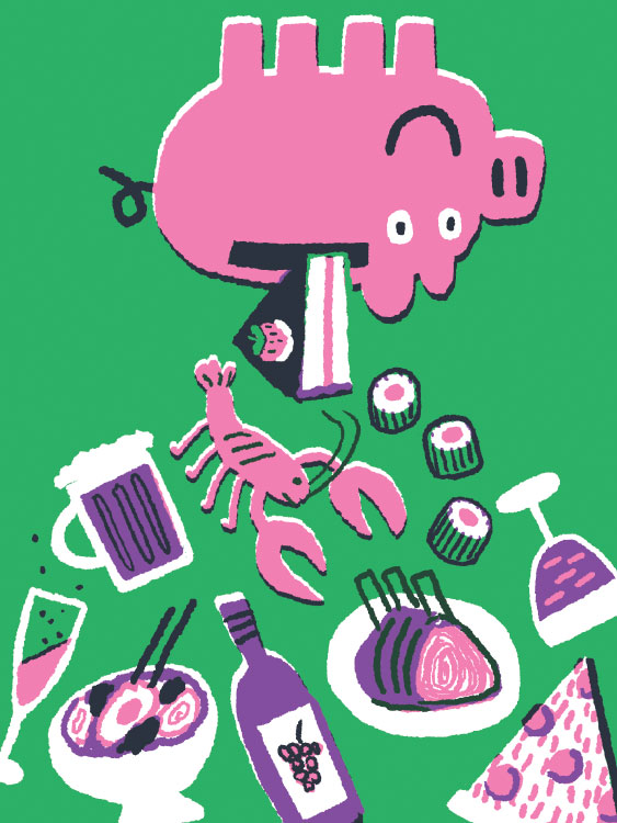 BBC Good Food illustration piggy bank cost price expensive budget saving money dinner